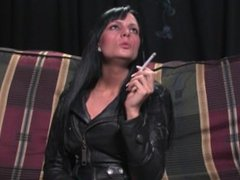 smoking in leather jacket and boots