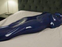 Blue latex bag