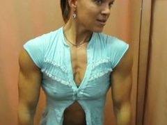 Muscle Girl Flexing In Changing Room 002