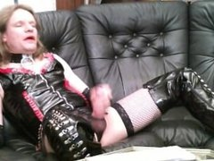 Heelboycd in thigh high boots and PVC corset
