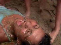 Extreme Dirty Brasilian Girls spit humiliation piss by 4 girls hot on 1girl