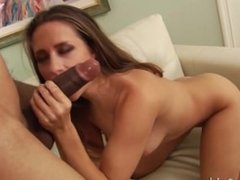 Sexy Cassidy Klein sucking and fucking huge black cock dude