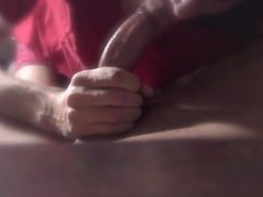 Deep throating a nice curved cock and getting the cum out