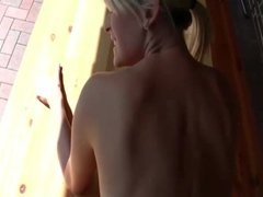 Blondy outdoor fuck and cum in mouth