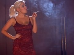 Lu Elissa smoking strong corks 100s and teasing her tits
