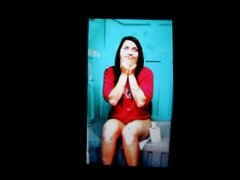 A girl on a toilet cum tribute 17