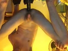 crazy submissive young crossdresser deepthroats huge dildo and fucked rough