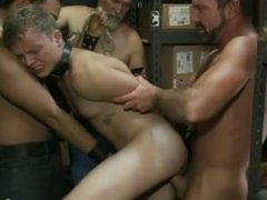 Micah Andrews bound in public boot store