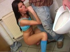 Property sex real estate agent Debbie plumbed in public toilet