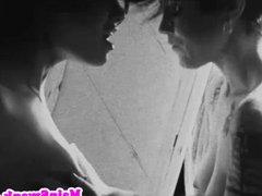 Retro stockinged lesbian dom asian babe