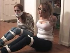 Two Babysitters tied up and struggling