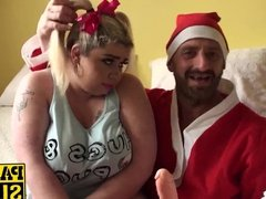 Saskia gets punished for being naughty girl by a bad Santa