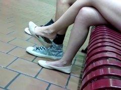 candid Tan flats heelpoping, toe wiggle and dangling