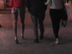 candid The high heeled girl with striped shorts in Kiev