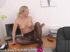 Only Tease sexy girl stripping in black patterned tights
