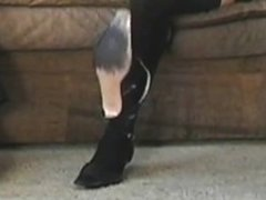 Sneaky pantyhose shoeplay