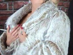 dannii harwood smoking in fur coat