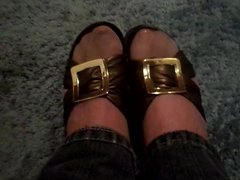 sandals nylons and jeans