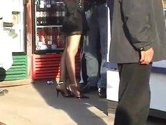 candid sexy women in pantyhose high heels with boyfriend