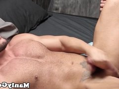 Bear jerks before cumshot while getting anal