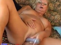 Russian blonde mature ridding on a big dick