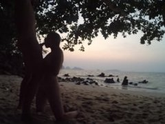 blowjob & handjob after sunset on public beach russian teen make horny guy