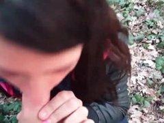 Teen babe sucking dick outdoors