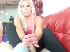 Beautiful Blonde Sockjob HD