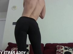 Yoga pants make my big round ass look amazing JOI