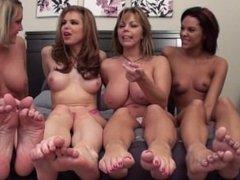 4 girl topless foot humilation