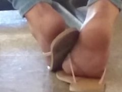Candid Ebony Feet in Cafeteria 9