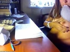 webcam teen flash and fingers