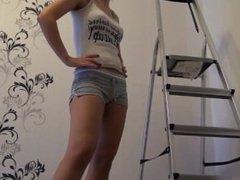 naughty-hotties.net - do over ladder cheating quickie - creampie