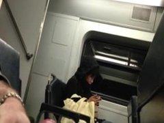 Masturbation on train with cum
