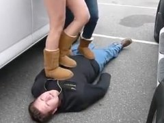 Double Trampling in Uggs (Real Amateur!)
