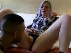English slut sucks and fucks Pakistani cock
