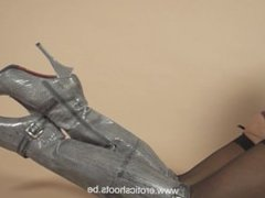 High heels boots and stockings with garter belt slow motion tease