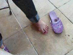sexy feet in purple slippers