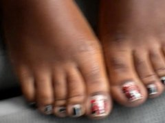 Eve Red And Black Toenails