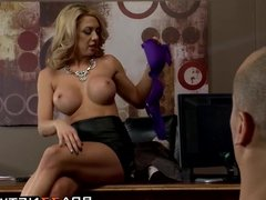Big titted blonde principal Parker Swayze rides Seans cock