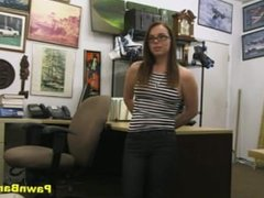 Nerdy Teen Takes Cock In Her Mouth & Pussy For Dollars
