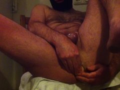large double headed dildo all the way with cum dripping