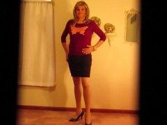 Crossdresser in Tight Butterfly Sweater and Short Skirt