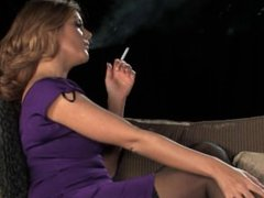 (HD) Blonde girl smoking with sexy black stockings