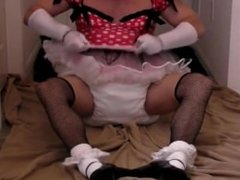 diapered sissybaby in pretty red dress triple diapered