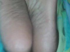 Cumming on gf sleeping ebony soles