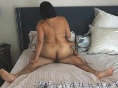 Wife rides husband until he cums inside her