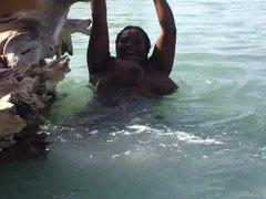 Ebony on the beach