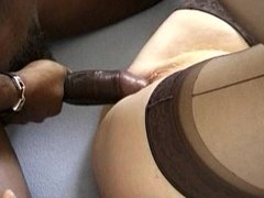 Black cock for short haired granny