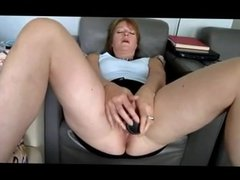 Amateur - Redhead Mature Bottles and Swallows Cum